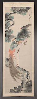 Attributed to Ren Xun watercolor scroll,