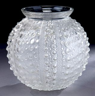 """R. Lalique """"Oursin"""" frosted clear glass bowl,"""