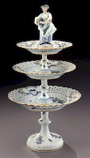 Meissen 3-tier cake/dessert stand with figure,