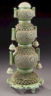 Japanese Edo celadon porcelain pagoda-shaped