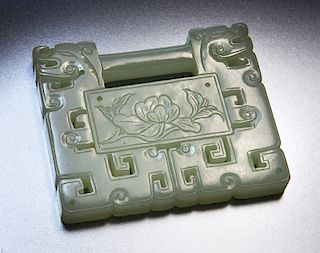 Chinese Qing carved jade child lock,