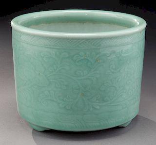 Chinese Qing celadon porcelain incense burner,