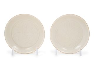 A Pair of Small Chinese Ding-Type Porcelain Dishes Each: diam 4 7/8 in., 12.4 cm.