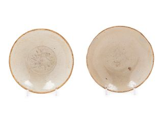 Two Chinese Qingbai Porcelain Shallow Bowls Each: diam 6 in., 15 cm.