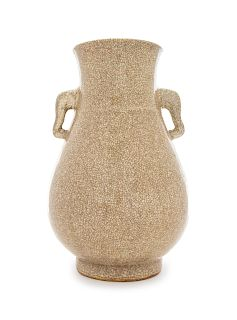 A Chinese Ge-Type Porcelain Zun Vase Height 13 1/2 in., 34 cm.