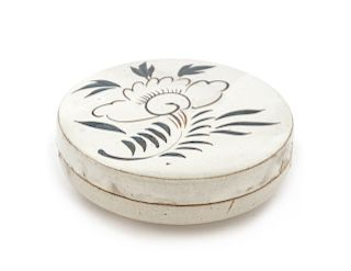 A ChineseCizhou-Style Stoneware Circular Covered Box Diam 4 7/8 in., 12 cm.