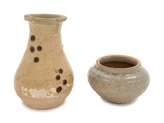 Two Chinese Celadon Glazed Pottery Wares Larger: height 4 3/4 in., 12 cm.