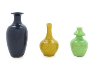 Three Chinese Monochrome Glazed Porcelain Miniature Bottles Largest: height 4 1/4 in., 11 cm.