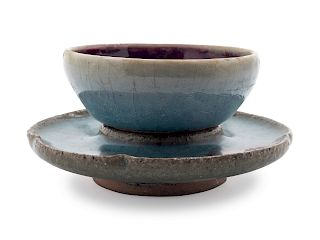 A Chinese Jun-Type Stoneware Cup and Stand Cup: diam 3 1/2 in., 9 cm. Overall height 2 3/8 in., 6 cm.