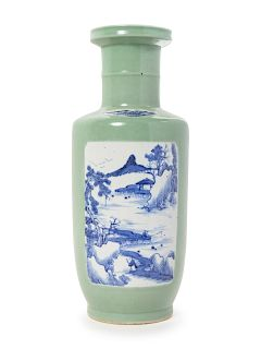 A Chinese Celadon Ground Blue and White Porcelain Rouleau Vase Height 17 1/8 in., 44 cm.