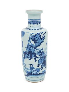 A Chinese Blue and White Porcelain Rouleau Vase Height 11 in., 29 cm.
