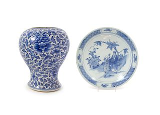 Two Chinese Blue and White Porcelain Wares Larger: height 12 1/2 in., 32 cm.