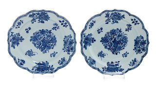 A Pair of Chinese Export Blue and White Porcelain Plates Each: diam 9 in., 23 cm.