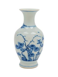 A Chinese Blue and White Porcelain Vase Height 6 3/8 in., 16 cm.