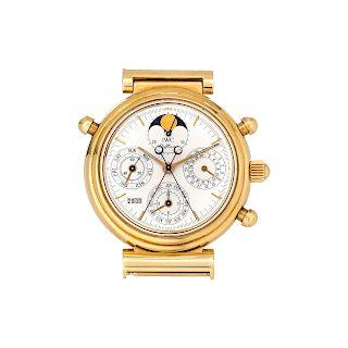 IWC, 18K Yellow Gold Rattrapante Perpetual Calendar Chronograph 'Da Vinci' Wristwatch