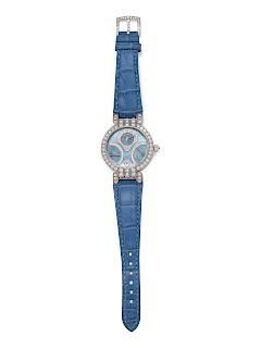 Harry Winston, 18K White Gold and Diamond 'Premier Excenter Bi-Retro Day-Date' Wristwatch