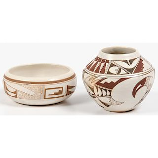 Joy Navasie (Hopi, 1919-2012) Pottery Bowl and Jar