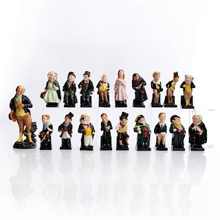 18 MINI DOULTON, CHARLES DICKENS FIGURINES AND 1 LG