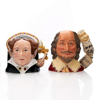 ROYAL DOULTON LARGE CHARACTER JUGS SHAKESPEARE & QUEEN MARY I
