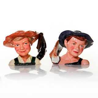 SET OF 2 SMALL ROYAL DOULTON MARK TWAIN CHARACTER JUGS