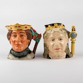 2 ROYAL DOULTON LARGE CHARACTER JUGS, HENRY & VICTORIA