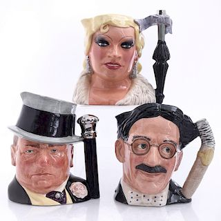 3 LG ROYAL DOULTON CELEBRITY COLLECTION CHARACTER JUGS