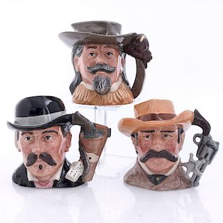 3 MID SIZE ROYAL DOULTON CHARACTER JUGS, THE WILD WEST