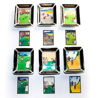 6 GUINNESS LIMITED EDITION BATEMAN CARTOON PIN TRAYS