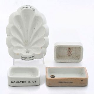 3 DOULTON SAMPLE MINIATURES, 1 ADVERTISING DISH