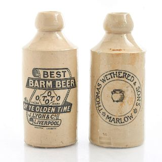 PAIR OF DOULTON LAMBETH CERAMIC BEER BOTTLES