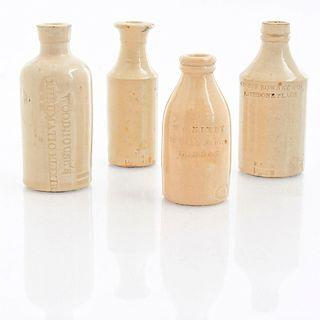 GROUP OF FOUR DOULTON LAMBETH GLAZED SPIRITS BOTTLES