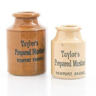 PAIR OF TAYLOR'S PREPARED MUSTARD CERAMIC JARS