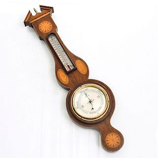 WOOD MARQUETRY WARE WEATHER STATION
