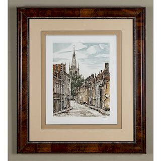 LIMITED EDITION BRITISH VILLAGE ENGRAVED PRINT SIGNED