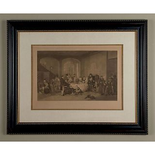 ANTIQUE ENGLISH ENGRAVING THE EARLY BREAKFAST