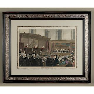 ENGRAVED HISTORIC PRINT, THE TICHBORNE TRIAL, 1874