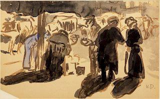 Kees van Dongen(Dutch/French, 1877-1968)Le marche, rue Lepic, Paris
