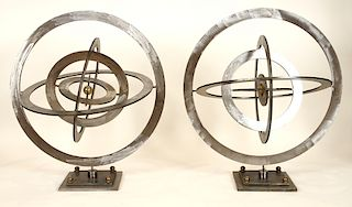 PAIR BRONZE STEEL ASTROLAB KINETIC SCULPTURES
