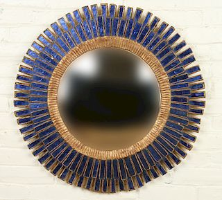 BLUE GLASS AND GILT MIRROR MANNER LINE VAUTRIN