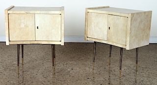 DIMINUTIVE PAIR PARCHMENT SIDE TABLES C.1950