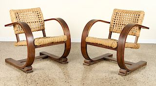 PAIR FRENCH ROPE AND BENTWOOD ARM CHAIRS C.1940
