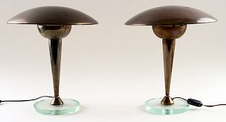 PAIR ITALIAN BRASS ONE LIGHT TABLE LAMPS