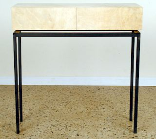 TWO DRAWER PARCHMENT COVERED CONSOLE C.1950