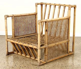 ITALIAN BAMBOO WOOD CHAIR WITH CANED SIDES C.1960