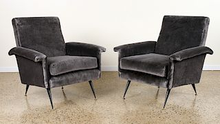 PAIR ITALIAN CLUB CHAIRS ON IRON LEGS C.1950