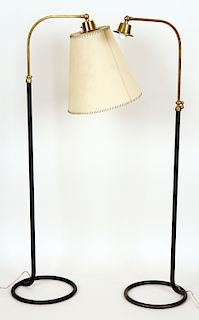 NEAR PAIR BRASS IRON FRENCH FLOOR LAMPS C.1950