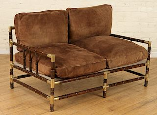 TURNED WOOD BRASS SOFA MANNER BILLY HAINES C.1970