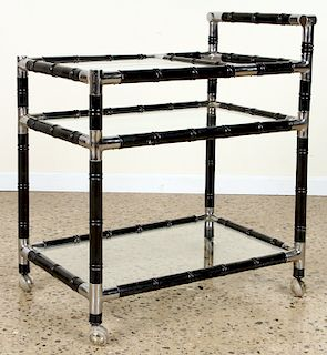 EBONIZED BAR CART MANNER OF BILLY HAINES C.1960