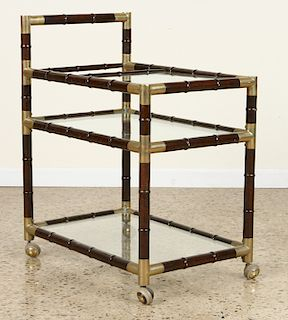 BILLY HAINES STYLE BRONZE TRIMMED DRINKS CART