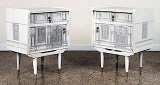 PAIR OF NIGHT STANDS IN THE MANNER OF FORNASETTI